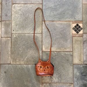 Vintage Leather Cat Purse
